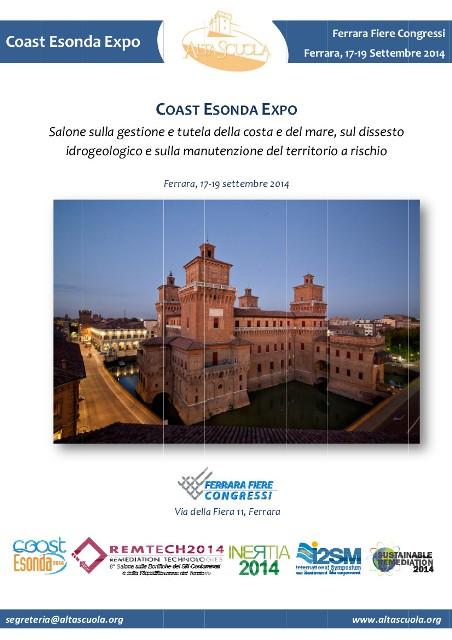 """""""COAST ESONDA EXPO 2014"""" Il salone sulla gestione e tutela della costa e del mare, sul dissesto idrogeologico e sulla manutenzione del territorio a rischio"""
