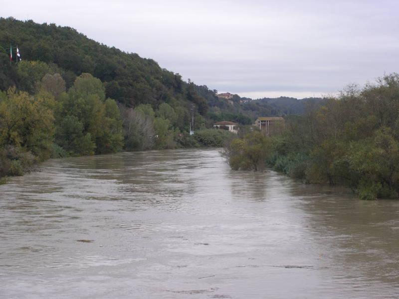 Arno a monte di Ponte alla Navetta, verso l'immissione del Canale di Usciana