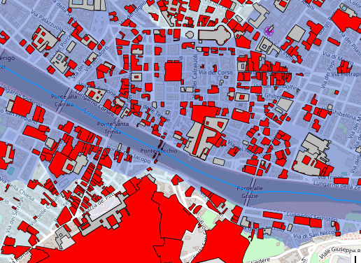 La mappa con gli edifici contenenti beni culturali in zone di pericolosità idraulica nel centro di Firenze