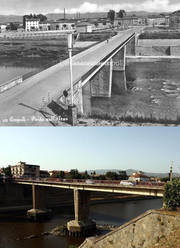 Il confronto tra una foto degli anni '60 del Ponte di Empoli (dal sito http://www.dellastoriadempoli.it/) e lo stesso ponte ai nostri giorni