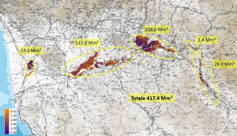Stima dei volumi di inondazione del novembre 1966 (Studio UniFI - LaMMA - AdbArno)