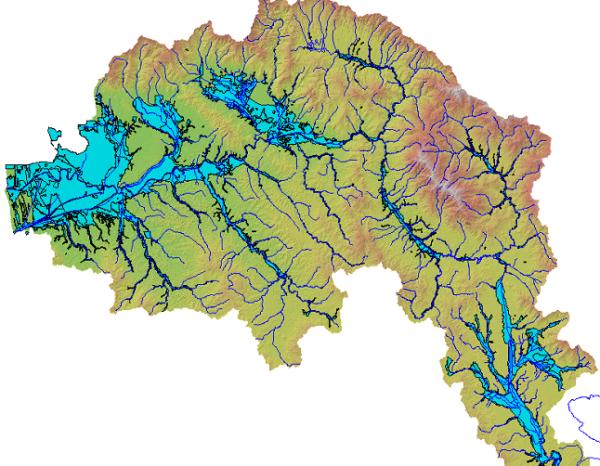 Le aree inondate nel bacino dell'Arno durante l'alluvione del novembre del 1966.